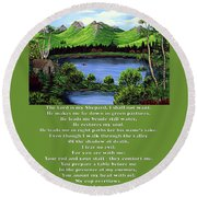 Twin Ponds And 23 Psalm On Green Round Beach Towel