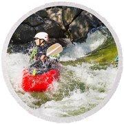 Two Whitewater Kayaks Round Beach Towel