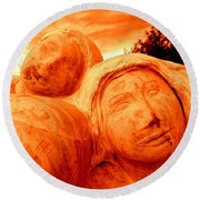 Two Women Round Beach Towel