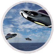 Ufo Round Beach Towel