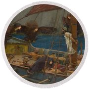 Ulysses And The Sirens Round Beach Towel