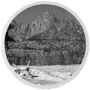 Snowy Yosemite Round Beach Towel