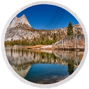Upper Cathedral Lake Round Beach Towel