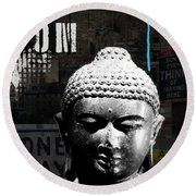 Urban Buddha  Round Beach Towel