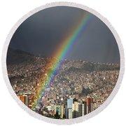 Urban Rainbow La Paz Bolivia Round Beach Towel
