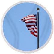 Usa Flag Round Beach Towel