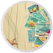 Vacation Postcards Round Beach Towel