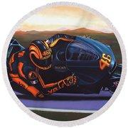 Valentino Rossi On Ducati Round Beach Towel