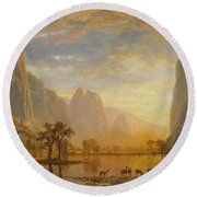 Valley Of The Yosemite Round Beach Towel