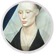 Van Der Weyden's Portrait Of A Lady Round Beach Towel