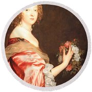 Van Dyck's Catherine Howard -- Lady D'aubigny Round Beach Towel