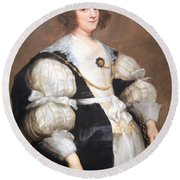 Van Dyck's Lady With A Fan Round Beach Towel