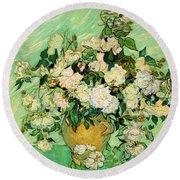 Van Gogh's Roses Round Beach Towel