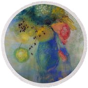Vase Of Flowers Round Beach Towel by Odilon Redon