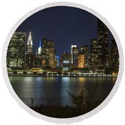 View From Gantry Plaza State Park Round Beach Towel
