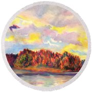 View Of Goat Island From Clackamette Park Round Beach Towel