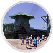 Visitors Heading Towards The Waterworld Attraction Round Beach Towel