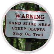 Warning Sign Round Beach Towel