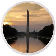 Washington Monument Sunrise Round Beach Towel