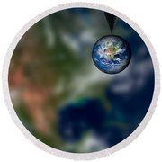 Water And Earth Round Beach Towel