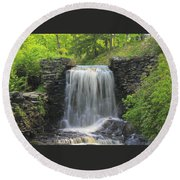 Water Fall Moore State Park Round Beach Towel