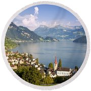 Weggis Switzerland Round Beach Towel