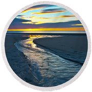 Wells Beach Maine Sunrise Round Beach Towel
