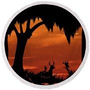 Wetland Wildlife - Sunset Sky Round Beach Towel