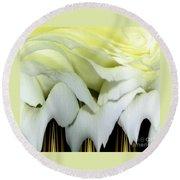White Rose Polar Coordinates Round Beach Towel