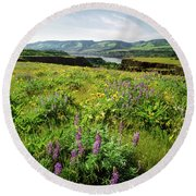 Wildflowers In A Field, Columbia River Round Beach Towel