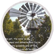 Windmill With Lincoln Quote Round Beach Towel