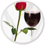 Wine With Red Rose Round Beach Towel by Elena Elisseeva