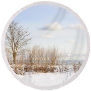 Winter Shore Of Lake Ontario Round Beach Towel by Elena Elisseeva