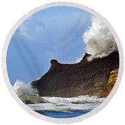 Winter Storm At Cape Kiwanda - Oregon Round Beach Towel