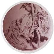 Wise Old Goat Round Beach Towel