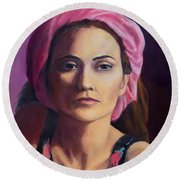 Woman In A Pink Turban Round Beach Towel