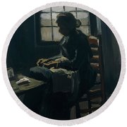 Woman Sewing Round Beach Towel