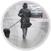 Woman Walking On The Street Round Beach Towel