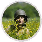 Woman With Military Helmet Round Beach Towel