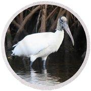 Wood Stork In The Swamp Round Beach Towel