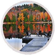 Wooden Dock On Autumn Lake Round Beach Towel