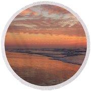 Wrightsville Beach At Sunrise Round Beach Towel