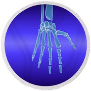X-ray View Of Human Hand Round Beach Towel