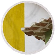 Yellow And Green Lines To The Roofs Round Beach Towel