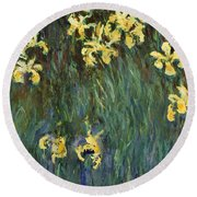Yellow Irises  Round Beach Towel