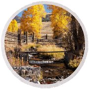Yellowstone Institute In Lamar Valley In Yellowstone National Park Round Beach Towel