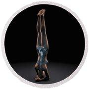 Yoga Headstand Pose Round Beach Towel