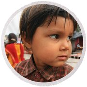Young Boy Orchha  Round Beach Towel