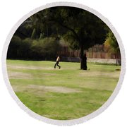 Young Boys Playing Cricket In A Park Near Delhi Zoo Round Beach Towel