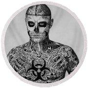 Zombie Boy Rick Genest Round Beach Towel by Carlos Velasquez Art